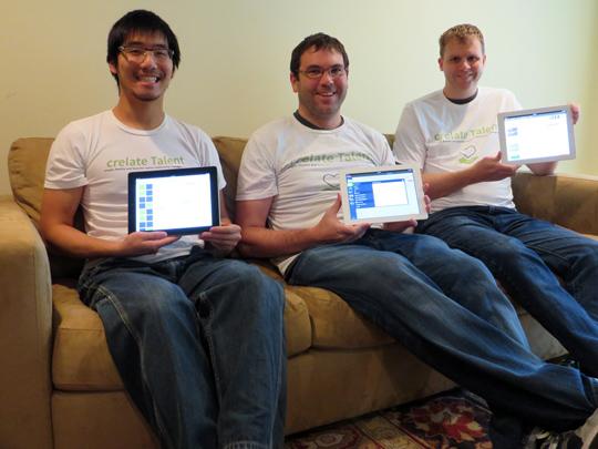 Development team showing off the iPad beta client