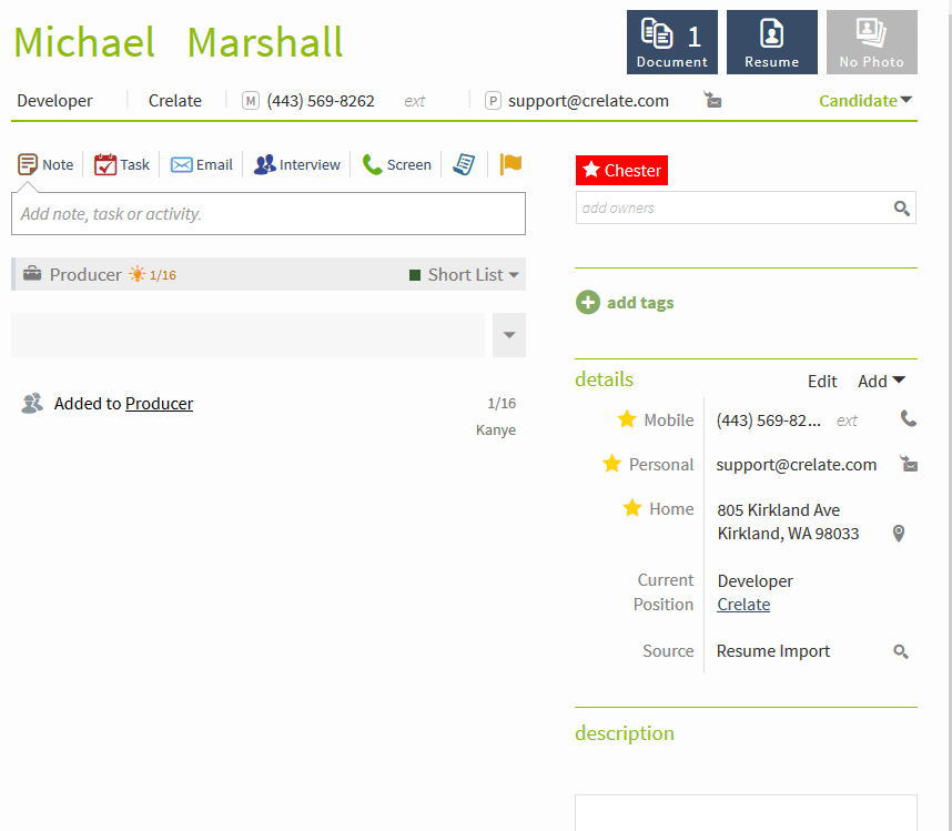 detailed candidate profile