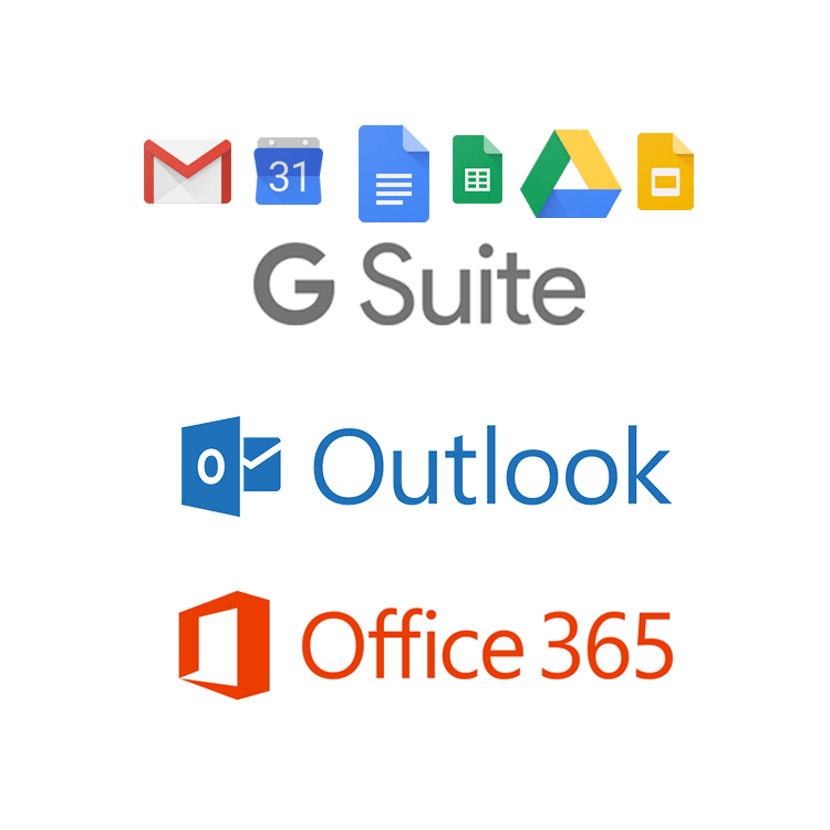 g suite, outlook, office 365 integration