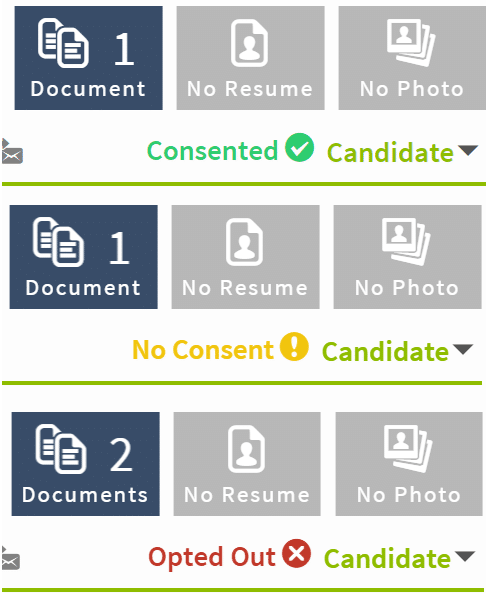 Crelate ATS GDPR levels of consent badges