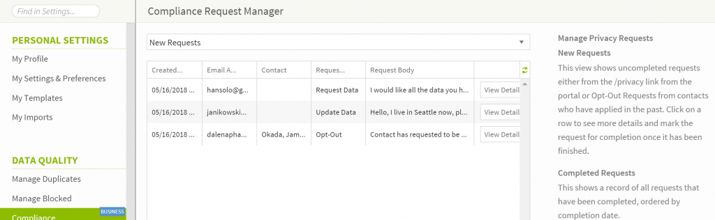 Crelate ATS GDPR Compliance Request Manager Feature