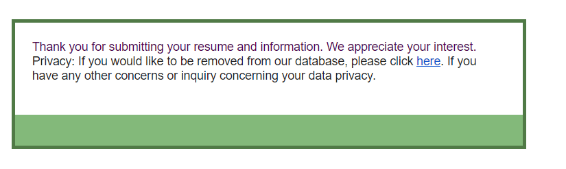 Crelate ATS GDPR messaging for requesting removal from database