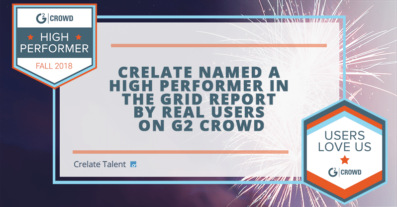 "Crelate Recognized by Recruiters on G2 Crowd with 2018 Applicant Tracking ""High Performer"" and ""Users Love Us"" Awards"