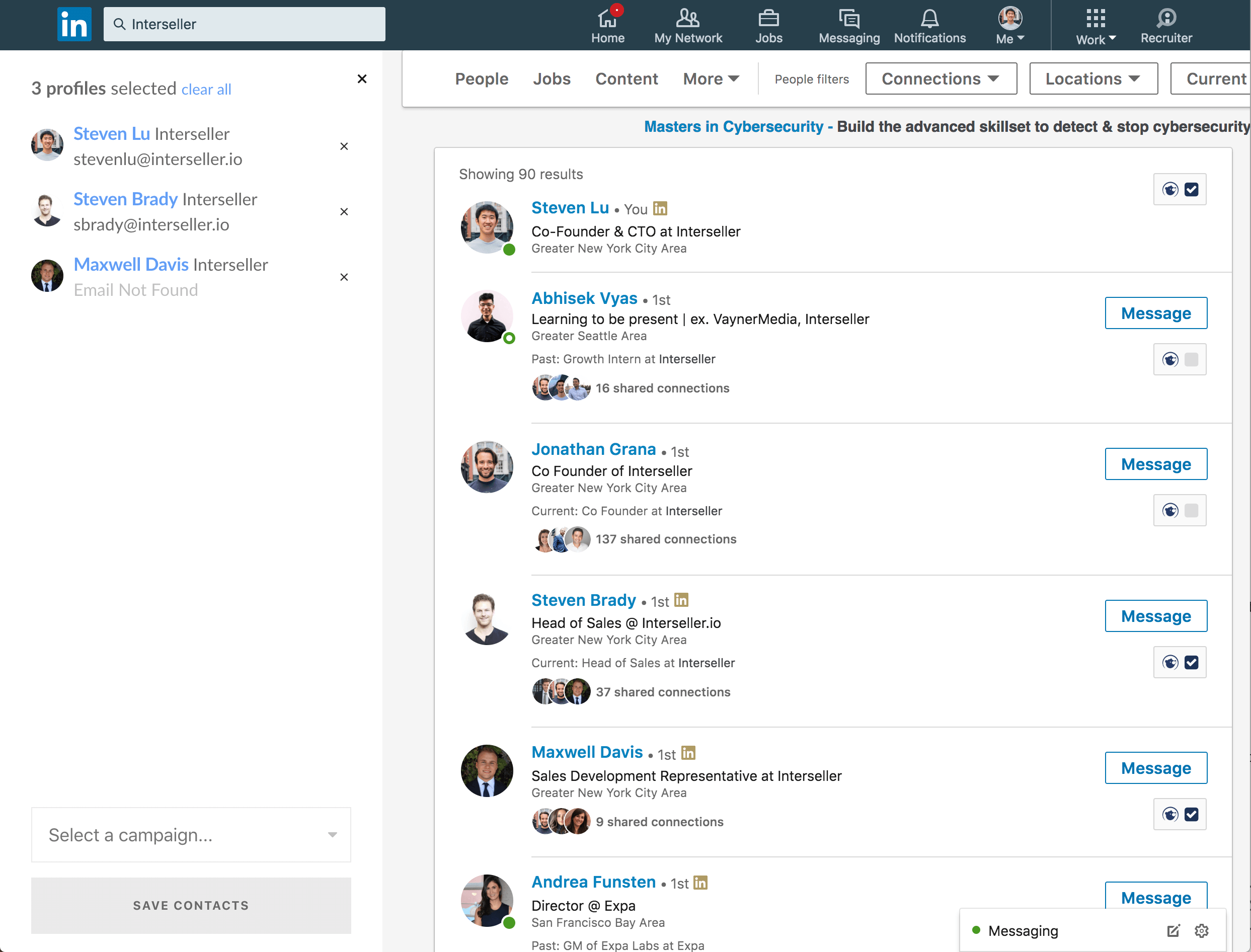 Intersteller usage on LinkedIn