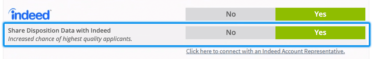 Screenshot of Indeed integration options