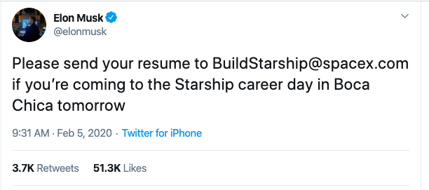 Elon Musk recruits via Twitter