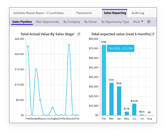 screenshot of sales reporting graphs