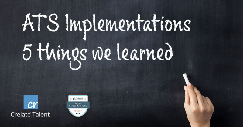 Chalk board Titled ATS Implementations 4 things we learned