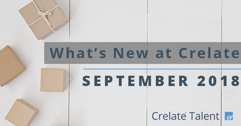 What's New At Crelate September 2018 Banner