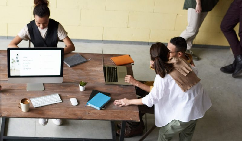 Group of people in common workspace